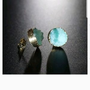 Druzy Stone Stud Earrings  Irregular Natural Quart